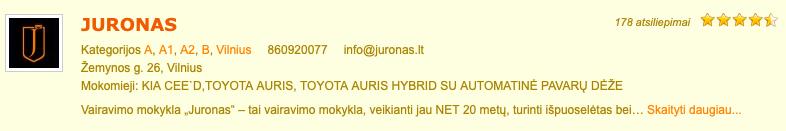 Juronas vairavimo mokykla Vilnius